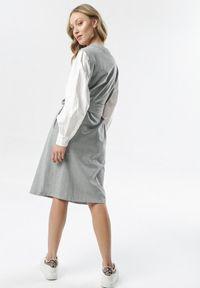 Born2be - Szara Sukienka Sofronia. Okazja: na spotkanie biznesowe. Kolor: szary. Materiał: tkanina, dzianina, materiał. Typ sukienki: koszulowe, ołówkowe. Styl: klasyczny, biznesowy