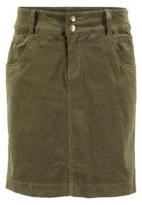 Spódnica sztruksowa ze stretchem bonprix ciemnooliwkowy. Kolor: zielony. Materiał: sztruks