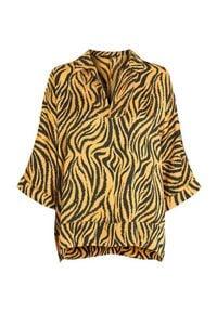 Amy's Stories Bluzka Zoè ciemnożółty zebra female żółty S (34/36). Okazja: na imprezę. Typ kołnierza: dekolt w serek, kołnierzyk koszulowy. Kolor: żółty. Materiał: wiskoza. Długość: długie. Wzór: motyw zwierzęcy. Styl: elegancki