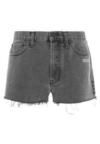 OFF-WHITE - Krótkie jeansowe szorty. Kolor: szary. Materiał: jeans. Długość: krótkie. Wzór: aplikacja