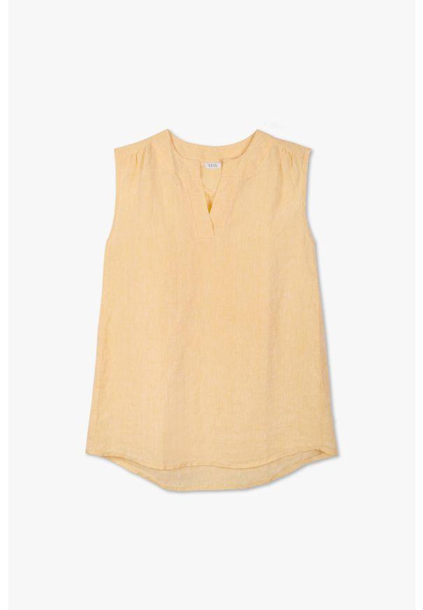 Żółta bluzka VEVA z krótkim rękawem, długa, w kolorowe wzory, na lato