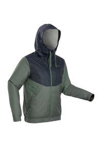 quechua - Kurtka turystyczna zimowa męska Quechua SH100 WTP WARM -5°C. Kolor: brązowy, wielokolorowy, szary, biały, zielony. Materiał: tkanina, polar. Sezon: zima