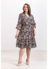 Sukienka Moda Size Plus Iwanek elegancka, oversize, na wiosnę