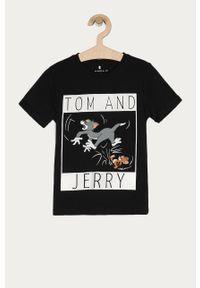 Czarny t-shirt Name it na co dzień, z nadrukiem