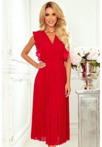 Czerwona sukienka koktajlowa Numoco z falbankami