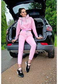Różowe spodnie dresowe FJ! z aplikacjami, na fitness i siłownię