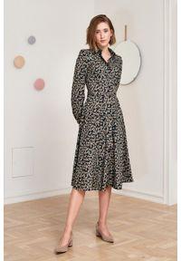 Marie Zélie - Sukienka Colette Kira. Materiał: bawełna, materiał. Długość rękawa: długi rękaw. Typ sukienki: szmizjerki. Styl: elegancki. Długość: midi
