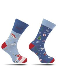 More - Skarpetki Świąteczne, Granatowo-Niebieskie Asymetryczne, Renifery, Prezenty, Sanie, Męskie -MORE. Kolor: niebieski. Materiał: tkanina, bawełna, poliamid, elastan
