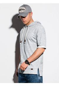 Szara bluza Ombre Clothing z kapturem, z krótkim rękawem