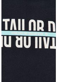 Niebieska bluza nierozpinana Tom Tailor z kapturem, z nadrukiem, casualowa