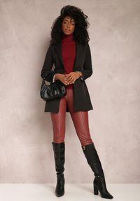Renee - Czarna Marynarka Iseope. Kolor: czarny. Materiał: tkanina. Długość: długie. Wzór: jednolity. Styl: elegancki #5