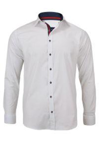 Biała elegancka koszula Rigon z długim rękawem, do pracy, długa