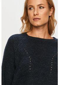 Niebieski sweter Vila na co dzień, z okrągłym kołnierzem, z długim rękawem, długi