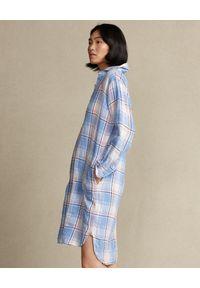 Ralph Lauren - RALPH LAUREN - Sukienka lniana w kratę. Typ kołnierza: polo. Kolor: biały. Materiał: len. Długość: długie #4
