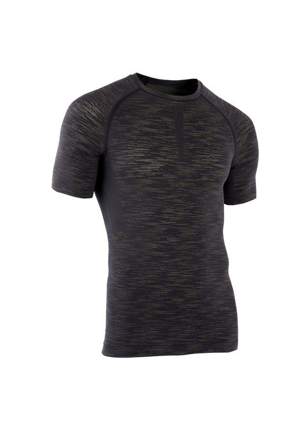DOMYOS - Koszulka kompresyjna do treningu siłowego. Materiał: poliester, poliamid, materiał, elastan