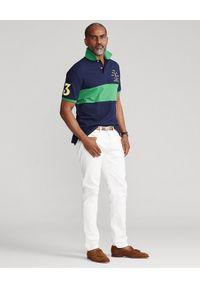 Ralph Lauren - RALPH LAUREN - Granatowo-zielona koszulka polo Custom Slim FIt. Typ kołnierza: polo. Kolor: niebieski. Materiał: bawełna. Długość: długie. Wzór: haft, aplikacja. Styl: sportowy #3