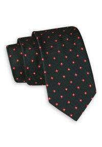 Ciemny Zielony Elegancki Krawat -Angelo di Monti- 6 cm, Męski, w Czerwono-Biały Geometryczny Wzór. Kolor: czerwony. Wzór: geometria. Styl: elegancki