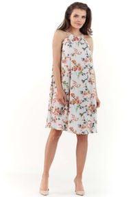 Lou-Lou - Ecru Zwiewna Sukienka Mini w Kwiatowy Wzór z Wiązanym Dekoltem. Materiał: elastan, poliester. Wzór: kwiaty. Długość: mini