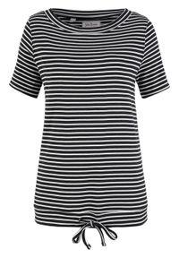 Czarna bluzka bonprix z krótkim rękawem, w paski, krótka