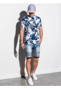 Niebieski t-shirt Ombre Clothing klasyczny, z nadrukiem