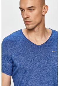 Niebieski t-shirt Tommy Jeans melanż, na co dzień, casualowy