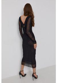 Patrizia Pepe - Sukienka. Kolor: czarny. Materiał: dzianina. Długość rękawa: długi rękaw. Typ sukienki: dopasowane