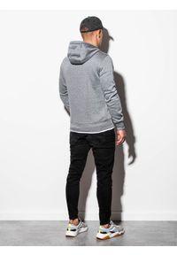 Ombre Clothing - Bluza męska z kapturem B979 - szary melanż V - XXL. Typ kołnierza: kaptur. Kolor: szary. Materiał: poliester, bawełna. Wzór: melanż. Styl: klasyczny