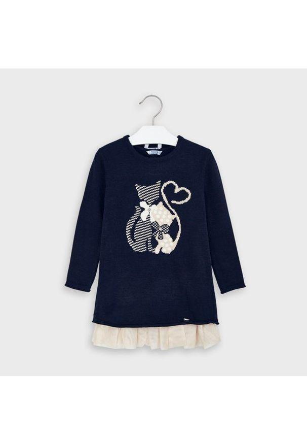 Mayoral Komplet sweter i sukienka 4966 Granatowy Regular Fit. Kolor: niebieski