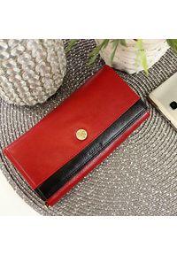 Krenig - Skórzany portfel damski KRENIG Scarlet 13015 czerwony w pudełku. Kolor: czerwony. Materiał: skóra