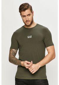 EA7 Emporio Armani - T-shirt. Okazja: na co dzień. Kolor: zielony. Materiał: dzianina. Wzór: nadruk. Styl: casual