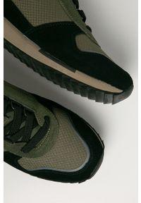 Zielone sneakersy Napapijri na sznurówki, z cholewką, z okrągłym noskiem