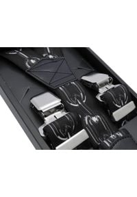 Modini - Ciemne szelki do spodni - łańcuch SZ124. Materiał: skóra, guma