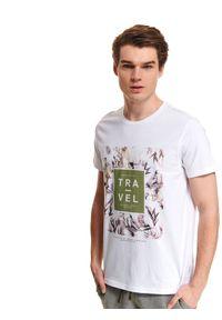 Biały t-shirt TOP SECRET krótki, z nadrukiem, na co dzień