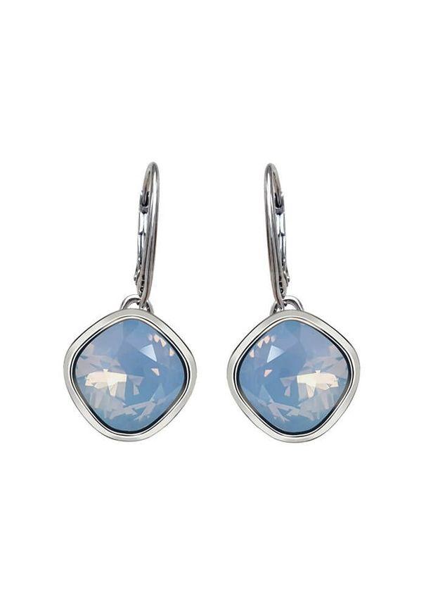Polcarat Design - Rodowane srebrne wiszące kolczyki z kryształami Swarovski K 2092. Materiał: srebrne. Kolor: srebrny. Wzór: aplikacja. Kamień szlachetny: kryształ