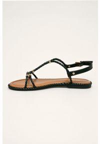 Czarne sandały Aldo z okrągłym noskiem, na klamry, bez obcasa