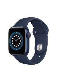 APPLE Watch 6 40mm (Niebieski z opaską sportową w kolorze niebieskim). Rodzaj zegarka: smartwatch. Kolor: niebieski. Materiał: materiał, guma, nylon, poliester. Styl: sportowy