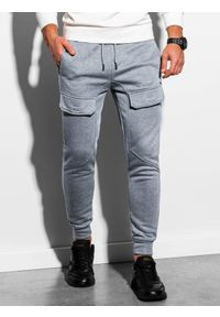 Ombre Clothing - Spodnie męskie dresowe joggery P904 - szary melanż - XXL. Kolor: szary. Materiał: dresówka. Wzór: melanż #3