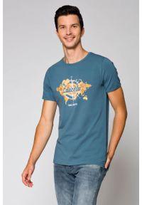 Szary t-shirt Lancerto w kolorowe wzory, klasyczny