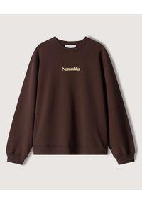 NANUSHKA - Bluza z logo Remy. Kolor: brązowy. Materiał: bawełna. Długość rękawa: długi rękaw. Długość: długie. Styl: klasyczny