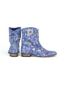Niebieskie botki Zapato wąskie, z cholewką, bez zapięcia