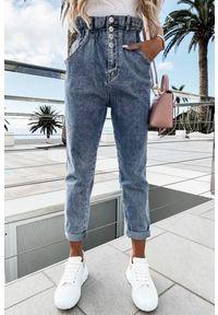 Niebieskie jeansy IVET z podwyższonym stanem, casualowe, na co dzień