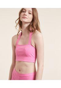 Crop Croise Crop Top - S - Różowy - Etam. Kolor: różowy. Materiał: prążkowany