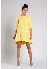 Żółta sukienka wizytowa Nommo wizytowa