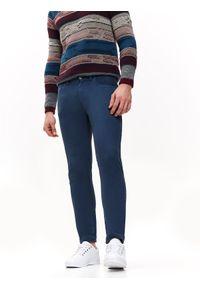TOP SECRET - Spodnie długie męskie 5pocket, slim. Okazja: na co dzień. Kolor: niebieski. Materiał: bawełna. Długość: długie. Styl: casual