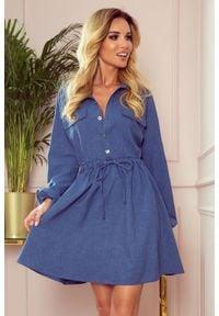 Numoco - Koszulowa rozkloszowana sukienka szmizjerka jeans. Materiał: jeans. Długość rękawa: krótki rękaw. Typ sukienki: szmizjerki, koszulowe