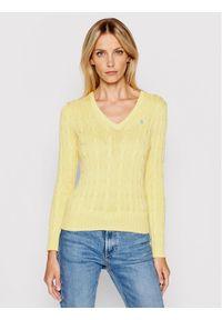 Polo Ralph Lauren Sweter Lsl 211580008073 Żółty Regular Fit. Typ kołnierza: polo. Kolor: żółty