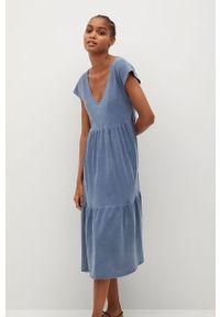 Niebieska sukienka mango z krótkim rękawem, gładkie