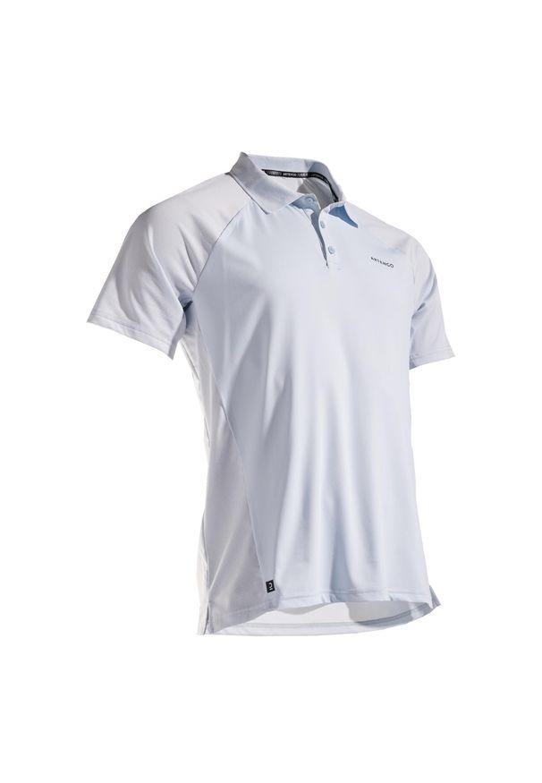 ARTENGO - Koszulka Polo Tenis Tpo 500 Dry Męska. Typ kołnierza: polo. Kolor: wielokolorowy, szary, niebieski. Materiał: mesh, materiał
