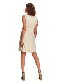 Beżowa sukienka TOP SECRET casualowa, na co dzień, prosta, z aplikacjami
