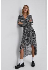 The Kooples - Sukienka. Kolor: czarny. Materiał: tkanina. Długość rękawa: długi rękaw. Typ sukienki: asymetryczne, rozkloszowane